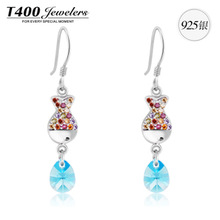 Hot sale T400 made with AAA zircon 925 sterling silver Colorful fish earrings For women 2355