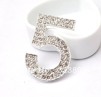 White Rhinestone Silver Alloy Number 5_DIY Cell Phone Case Jewelry Accessories cabochon