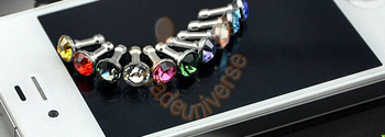 anti Dust cap dust plug with diamond for Iphone 5 Samsung Galaxy I9500 wholesale free shipping