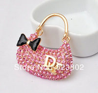 Pink Rhinestone Alloy Shoulder Bag Handbag _ DIY Cell Phone Case Jewelry Accessories cabochon