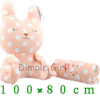 for baby girlfriend thicken cool air conditioning coral  fleece pillow blanket anime pink plush toy rabbit doll nap on the plane