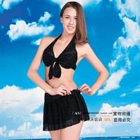 Spa belt slim female swimwear black swimwear split bikini piece set swimwear