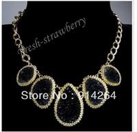 Golden Chain Water Drop Irregular Black Druzy Resin Pendant Bib Necklace fl0169