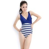 One piece trigonometric 2013 classic navy blue and white stripe hot spring female swimwear