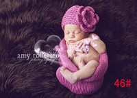 Free shipping Purple Photography Prop Cocoon Bowl & Handmade Crochet hats 0-6 months baby photography clothing