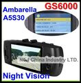 Top night vision Car DVR Camera GS6000 with Ambarella A5S30+GPS Logger+G-Sensor + 256M +Full HD 1920*1080P 30FPS Free Shipping