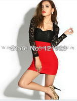 Free Shipping Summer New Women full Sleeve Lace stitching wrap chest high waist Sexy Dress K295 Holiday Sale  highquality QC0082