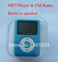 Free Shipping New  LCD Screen Mini MP3 Player +FM Radio /Build-in Speaker,With earphone+usb cable+retail packaging
