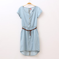 2013 summer women's fashion sexy o-neck short-sleeve denim one-piece dress low-high  free shipping