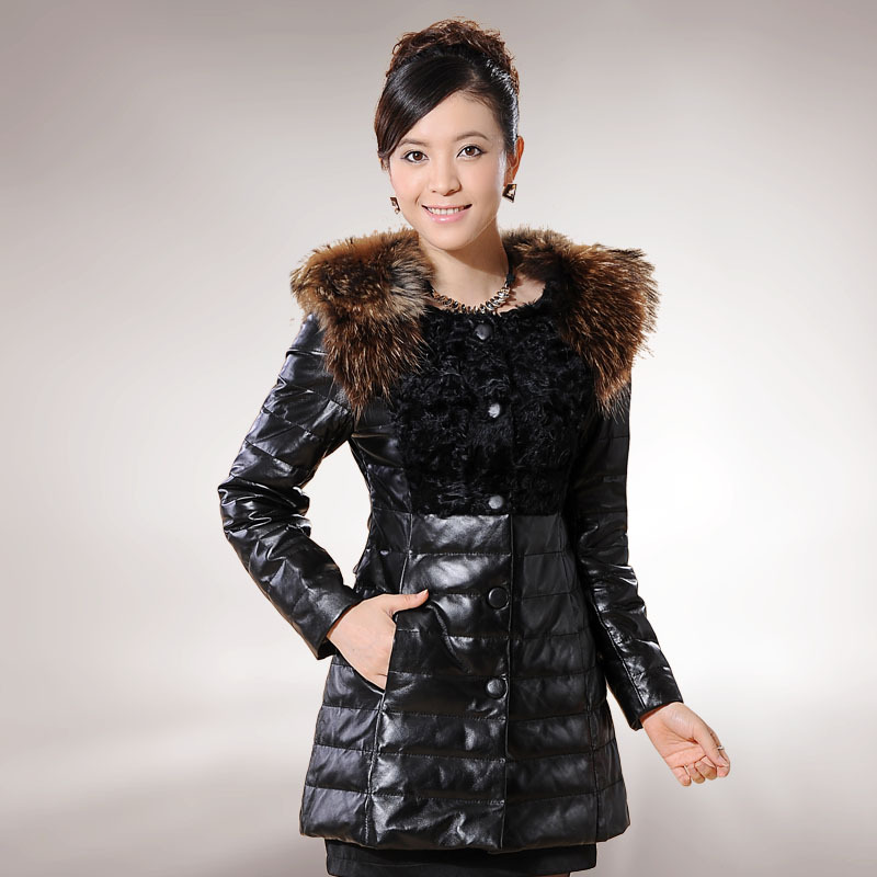 Firefox genuine sheepskin leather down coat raccoon fur medium-long down leather clothing female genuine leather clothing(China (Mainland))