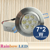 NEW 7*2w led ceiling light,AC85-265V 50/60Hz,CE& ROH 14w led down lighting 620lm  free shipping