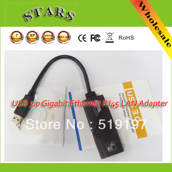 Free shipping USB 3.0 Gigabit Ethernet RJ45 Network 10/100/1000 Mbps/1 Gbps LAN Adapter Card for ipad