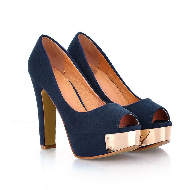 Navy Blue Open Toe Heels