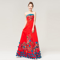 Married cheongsam formal dress red bridesmaid dress long design evening dress -Free shipping