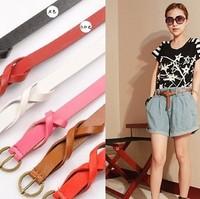 Min.order $10(Mix order)Free shipping!!! 2013 pearl bow buckle belt  for women slim belt skinny belt( 8 colors)