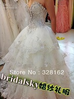 Ivory Rhinestone Beaded Appliques Sweetheart A-Line Chapel Train Wedding Dresses Bridal Gowns