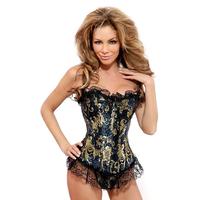 2 color Boned lace corset shaper sexy ladies bustier dress lingerie lift up slim Free ship red blue purple white black S~XL
