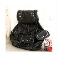 Free shipping--2014 new Korean female fashion leisure bag cover rivet,backpacks for school,women fur outdoor backpack for men