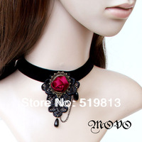 Choker Collar Black Lace Velvet Gothic Goth Lolita Necklace Red Rose Gold Tone N307