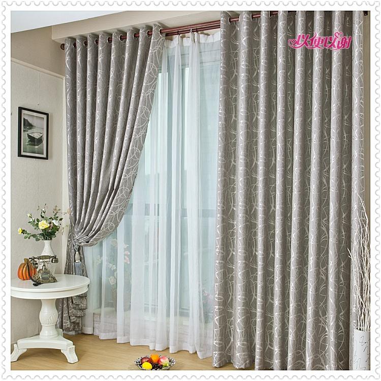 moda de nueva gray jacquard cortinas de la sala de estar