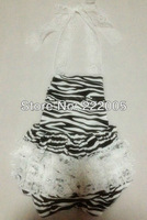 2013 new arrival zebra cotton romper with ivory lace ruffle for baby