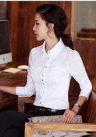 2015 fashion free shipping chiffon new brand long sleeve cotton slim shirt  women casual high quality OL blouse (black white)