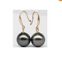 TUNNING 9-10MM TAHITIAN BLACK PEARL EARRING 14K YG MARKED