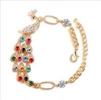 Valentine's Day Gift Min Mix Order $10 Fashion Alloy Bracelet&Bangle Colorful Rhinestone Peacock Bracelet&Bangle fashionJewelry
