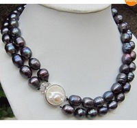 "noblest natural 11-13mm black baroque pearl necklace 18""-19"""