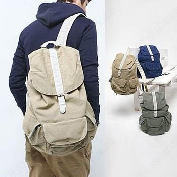 Men Hiking Travel Casual Canvas Backpack Buckle Rucksack Leisure School Sports Drawstring Shoulder Bags 1J8B