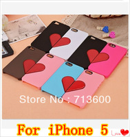 DHL Free Shipping Couple Case For iPhone 5 5G iPhone5 Heart Pattern Plastic Hard Back Cover , Wholesale