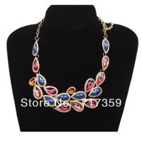 1pc  Fashion Waterdrop Resin Rhinestone Gold Alloy Chain Bib Necklace 57cm +Wholesale +Free Shipping  321015