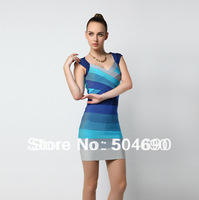 Free Shipping Backless HL Bandage Dress sexy Sleeveless V  Necklace Party Dress Evening Dress Baby Blue Formal Prom Dress