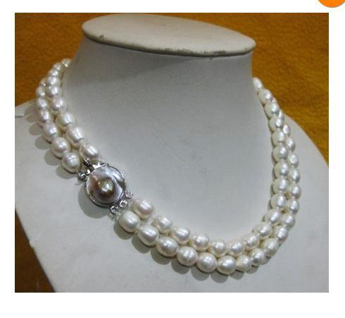 2rows RARE 11-14MM AAA++AKOYA WHITE baroque PEARL NECKLACE 18-19INCH(China (Mainland))