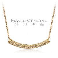 Luxury  fashion 18k gold plated pendant Necklaces crystal lady necklace evening party necklace