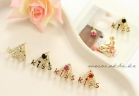 Jewelry English KISS of lovely earrings 4 colors Valentine's Day Drop Earrings gift