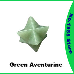 Green Aventurine Merkaba Star Gemstone Dowsing Pendulum Scrying Dowser Quartz Jasper Feng Shui Crystal(China (Mainland))