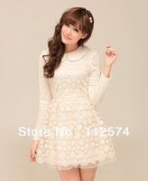 2013 spring new women's the sweet doll collar long-sleeved Slim lace dress