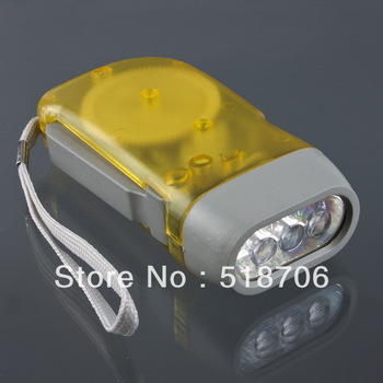 10pcs/lot Portable 3 LED Dynamo Wind up Flashlight Torch Light for Camping free shipping (CJ246)
