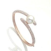 Min.order is $15 Sparkling Hot, Free shipping/Wholesale/High qualityNew Austria clear crystal imitation pearl bangle bracelet