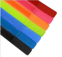 Free Shipping 100 PCS 18*2CM Colorful Velcro Plastic NYLON CABLE TIES Magic Tape Sticks Loops Fastener Belting Svelcro Backing