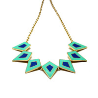 2014 new arrive Free Shipping Neon enamel metal  geometric  collar chocker party necklace gift for women N305