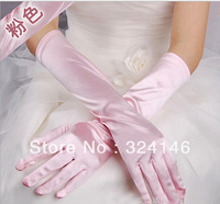 Factory price Long 38cm Own factory made Romantic  Pink color cheap wedding Gloves finger gloves