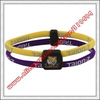 LSU Tigers Double Loop Trion-Z Bracelet - Gold  Purple