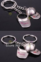 free ship Alloy Golf baseball cap keychain creative couple lovers key ring advertising gift keychain can custom logo