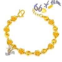 Gold 18k gold bracelet alluvial gold bracelet irritably 24k paragraph 999 fine gold plated bracelet Free shipping wholesale