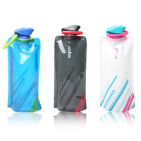 Freeshipping  Outdoor tourism and environmental protection portable folding water bottle foldable water bag with Carabiner