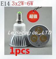1pcs/lot Hot selling Dimmable E14 3X2W 6W Spotlight Led Lamp Led Light 85V-265V Led Bulbs Free shipping