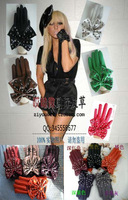 Fashion rivet bow faux leather soft leather gloves many kinds of color