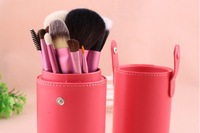 New Pro 13 Pcs Makeup Brush Set in Round Pink High Quality Leather Case